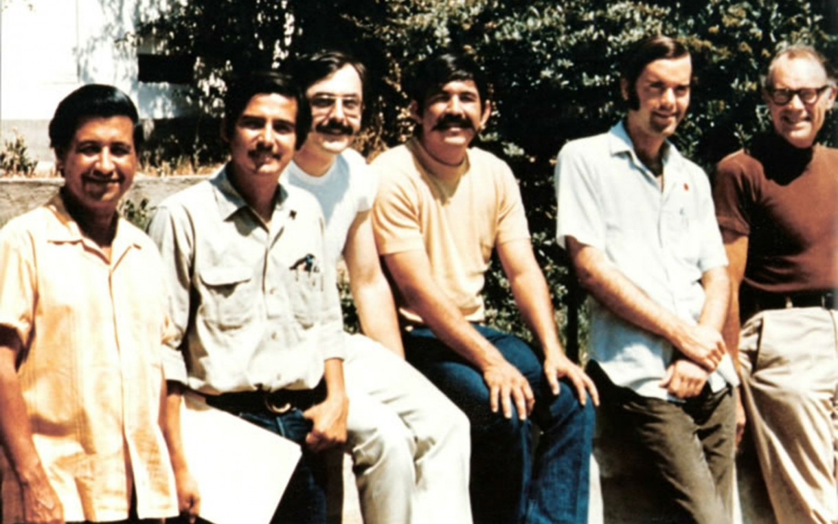 Guadalupe Gamboa, second from left, with Cesar Chavez, far left, and other leaders of the farmworkers' movement.