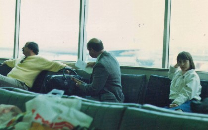 The author fled Romania with her parents in 1985. Here she is pictured (right) at Charles de Gaulle Airport in Paris on her way to the US.