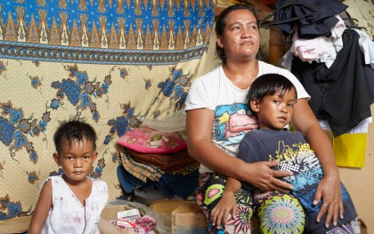 """I am grateful for my children. We are still here,"" said typhoon survivor Vanessa Margallo, 34. ""We are ok as long as we are all alive."" Photo: Simon Roberts/Oxfam"
