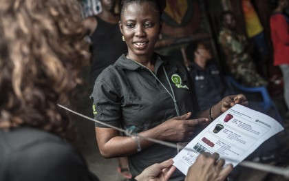 Mabinty Koroma, 31, is an Oxfam public health promoter working to prevent the spread of Ebola in Sierra Leone. Photo: Pablo Tosco/Oxfam