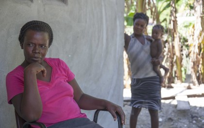 Olimcia Morolus outside of her house in Liancourt, Haiti. Photo: Shiloh Strong/Oxfam America