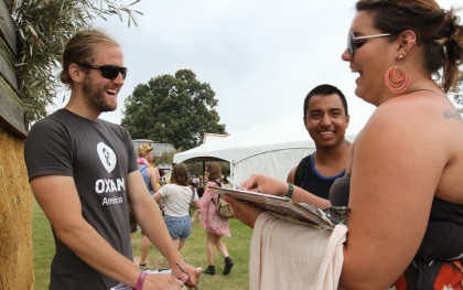 Oxfam volunteer Paul Gallegos, left, at the Bonnaroo Music Festival in Tennessee. Photo: Coco McCabe/Oxfam America