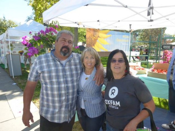 kathy with congresswoman michele lujan grisham at ABQ farmers mkt