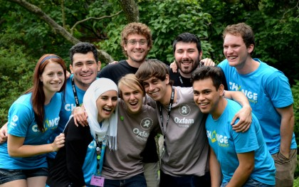 Rahaf Safi, in the first row at left, with other Oxfam-trained student leaders. Photo: Sandie Allen/Oxfam America
