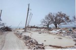 "Site of a two-story apartment complex, completely wiped out by the storm. Friends of the author used to live there. ""This is all we found when we returned."" Photo by Rosa Herrin/Oxfam America"