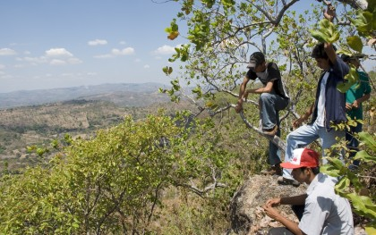 Residents of San Isidro (in Cabañas, El Salvador) look out over a valley where a OceanaGold hopes to begin mining gold and silver. Photo: Jeff Deutsch / Oxfam America