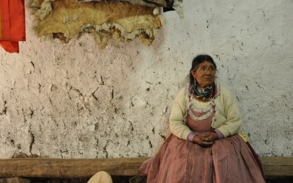 Josefa Zambrano (pictured) and her husband Augustin are subsistence farmers in Bajo Porcón, Peru in the Andes Mountains. She is pictured here in her barn. The Yanacocha gold mine is currently operating nearby above the city of Cajamarca, and farmers have taken action to try to protect Cerro Quilish, a small mountain that comprises the top of the watershed that supplies the Zambranos' farm and many others. Photo: Jessica Erickson / Oxfam America (Read more here: http://bit.ly/1kFXpF8.)