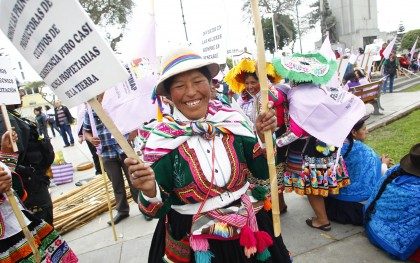 Indigenous women marched for food security and climate justice in the streets of Lima, Peru in 2013. The next UN COP on climate change will take place in Lima in December. Photo: Percy Ramírez/Oxfam America