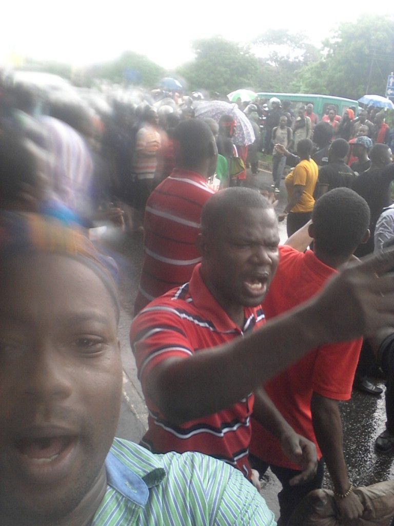 The obligatory selfie - as the protest moves to the streets
