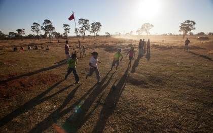 Children play soccer on the land of the Taquara, a group of indigenous people in Mato Grosso do Sul, Brazil. Nestle's new commitment could help protect the land rights of indigenous people around the world. Photo:  Tatiana Cardeal/Oxfam
