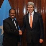 U.S. Secretary of State John Kerry and Somali President Hassan Sheikh Mohamud pose for photographers before the two held a bilateral meeting in Addis Ababa, Ethiopia, on May 3, 2014.  Source: http://bit.ly/1GYeCYi