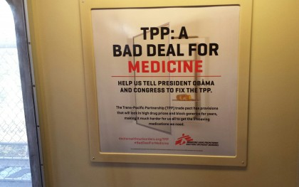 A Doctors Without Borders Access to Medicines Campaign poster on the Washington D.C. metro taken on May 22, 2015.  Photo: Stephanie Burgos/Oxfam America