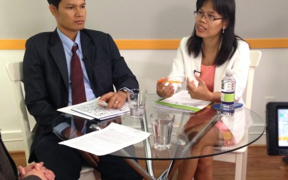 Oxfam's partner Sopheap Chak, Executive Director of Cambodian Center for Human Rights (CCHR) and Saroeun Soeung, Executive Director of Cooperation Committee for Cambodia (CCC) during an interview in Washington, DC. Image courtesy of Jeff Tyson and Julie Espinosa from DEVEX