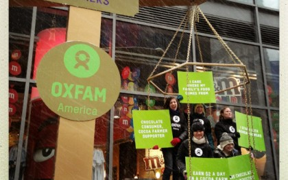 Oxfam campaigners outside the M&M's store in Times Square in March of 2013.  Photo: Peter DiCampo