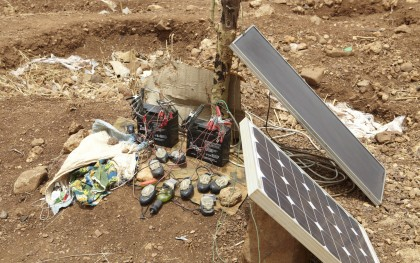April, 2012 - Make-shift solar panels charge up mobile phones in Burkina Faso. Photo: Andy Hall/Oxfam Great Britain