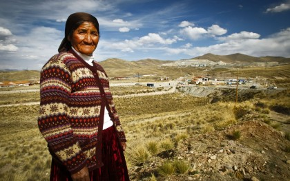 Community leader in front of the Tintaya Copper Mine in Espinar, Peru. Credit: Oxfam America
