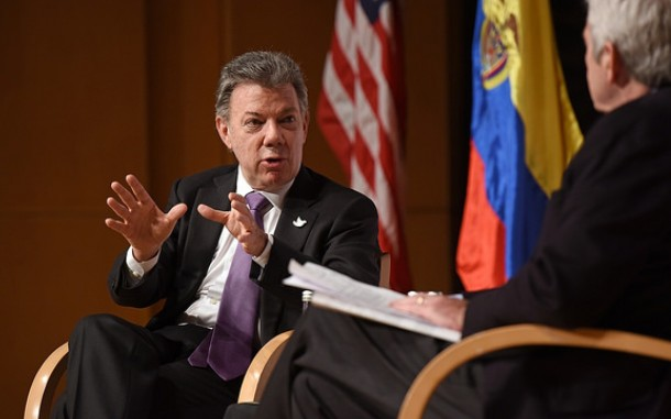 President Juan Manuel Santos at WIlson Center event, Colombia: Its Transformation and Future Challenges. Photo: Wilson Center